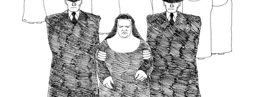 Federzeichnung zur Verhaftung Sr. Restitutas durch die Gestapo
